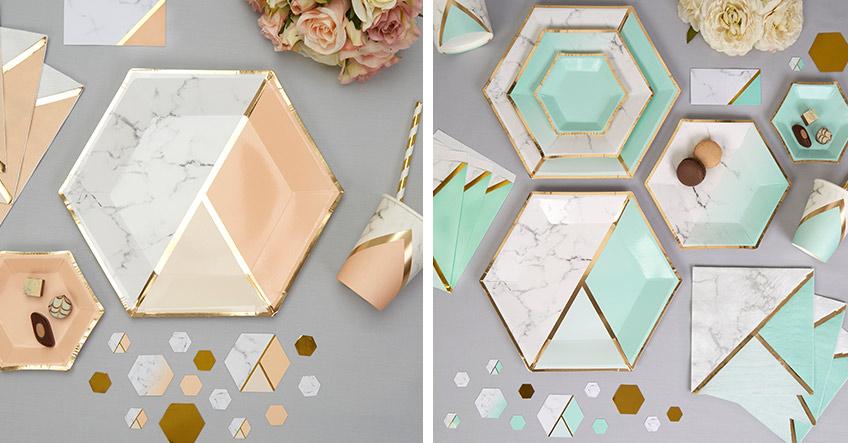 Gemoetrische Muster mit glänzendem Gold, Apricot und Mint für eine moderne Tischdeko zur Hochzeit