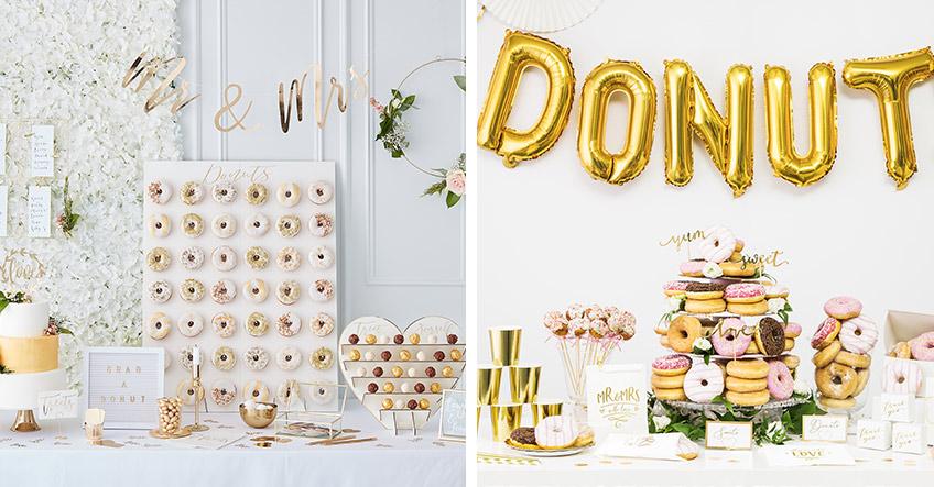 Auch auf dem Hochzeits-Sweet-Table dominiert Weiß oder Gold