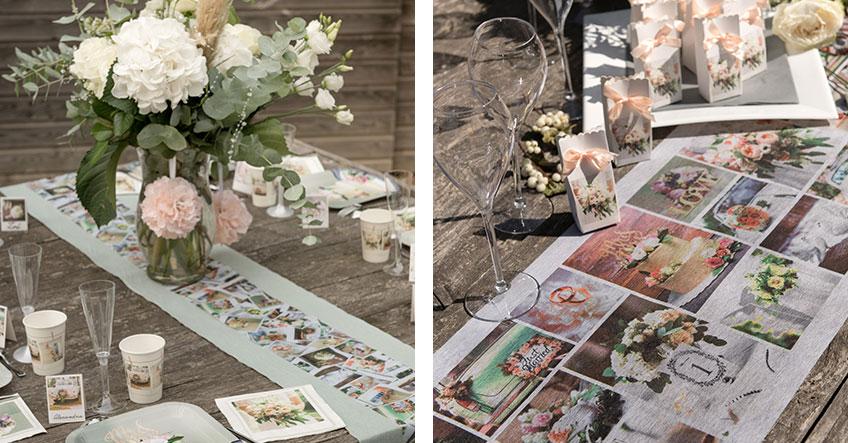Die Polaroids auf dieser Hochzeitsdeko verströmen kreativen Flair