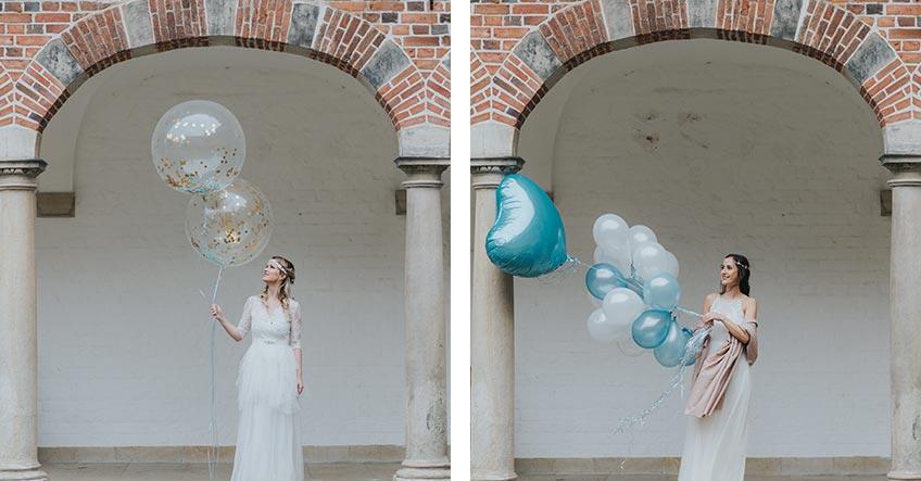 Für Winterhochzeits-Fotos sind Ballons eine herrliche Deko - am besten in Gold, Weiß und Blau (c) Svetlana Kohlmeier Fotografie