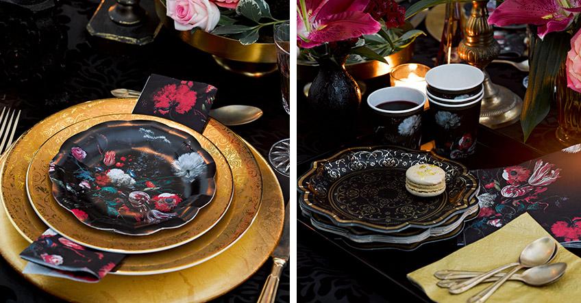 Blütenmuster und Ornamente zusammen mit edlem Gold unterstützen die geheimnisvolle Hochzeits-Atmosphäre