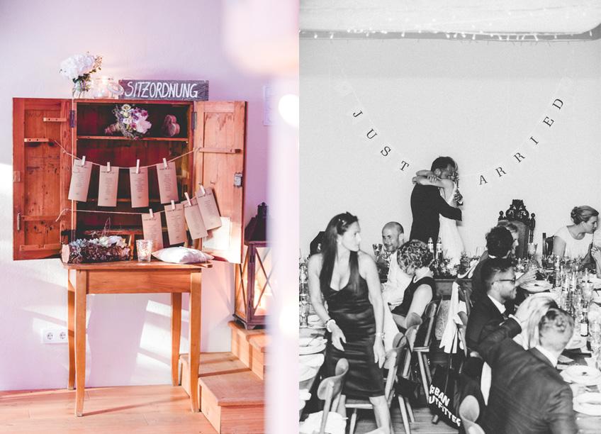 DIY-Sitzordnung aus Juteleine, Wäscheklammern und einer antiken Kommode