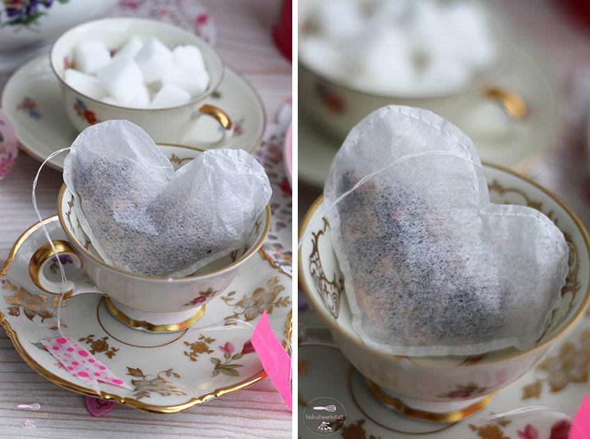 Die DIY-Teebeutel kommen richtig zur Geltung, wenn ihr den Teetisch oder Sweet Table romantisch dekoriert!