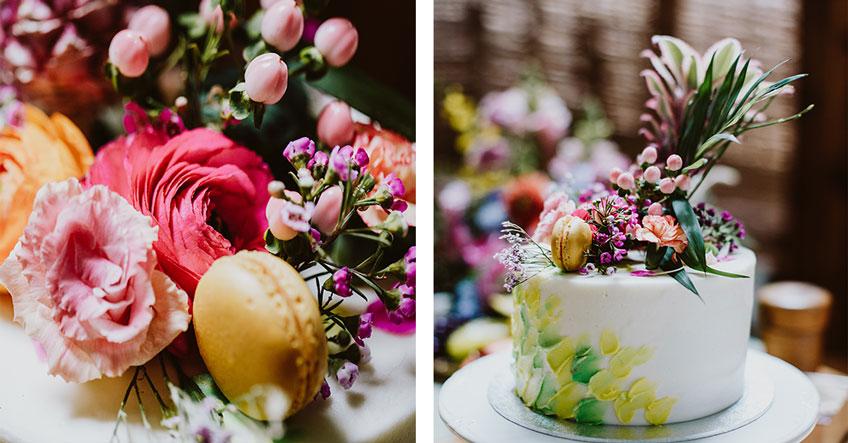 Farbenfrohe Torte für deine tropical Bridal Shower