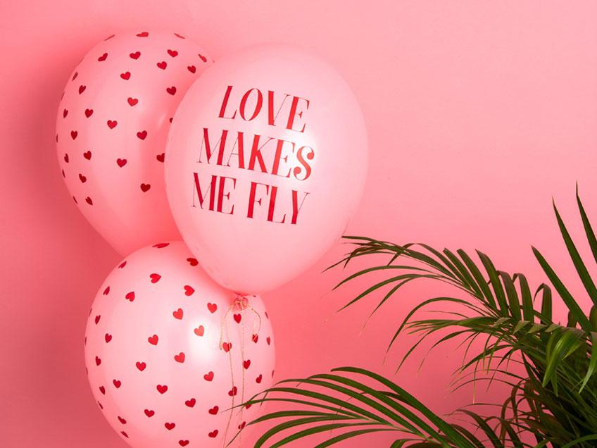 Luftballons für die Party zum Valentinstag - natürlich in Rosa :)