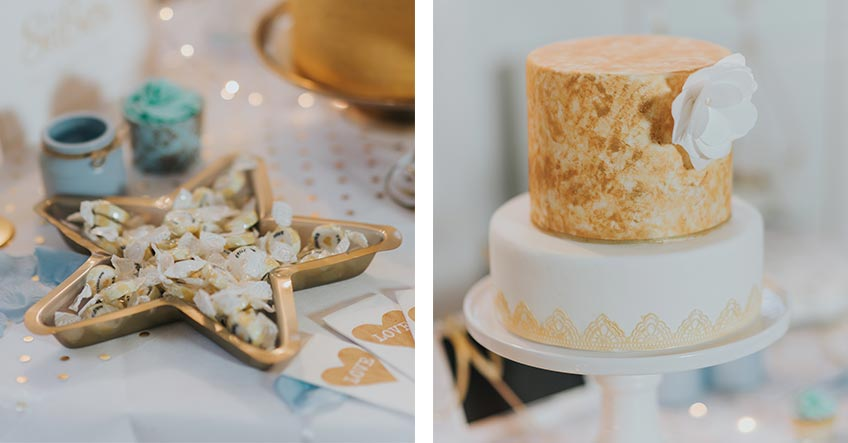 Eine goldene Hochzeitstorte bringt strahlenden Winterglanz auf den Sweet Table - genauso wie das typische Wintermotiv Stern (c) Svetlana Kohlmeier Fotografie