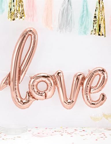 Mit dem Love-Folienballon in Rosegold-Metallic setzt ihr ein stylishes Deko-Highlight