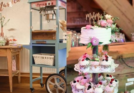 Selbst angemalte Popcornmaschine & Tortenstecker passend zum Style der Candy Bar