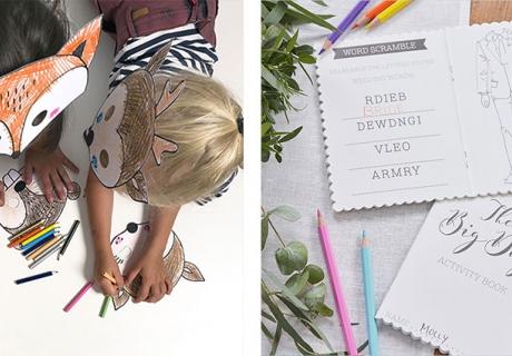 Masken und Activity Books zum Basteln, Spielen und Malen sind perfekt, damit den kleinen Gästen auf der Hochzeit nicht langweilig wird