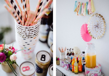 Mit bunten Accessoires werden sogar die Drinks für die Bridal Shower in Szene gesetzt und laden zur Selbstbedienung ein © Julia Löhning Fotografie