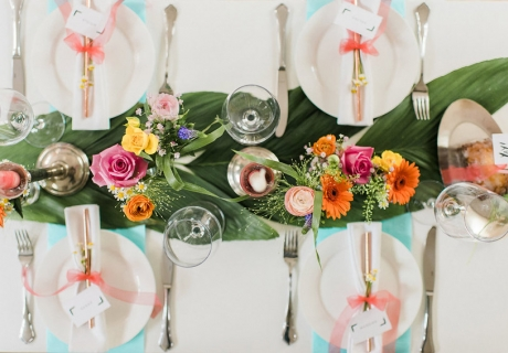 Das Kernstück des Bridesmaid Dinner - ein schön dekorierter Tisch (c) Bildeck - Nicole & Steven