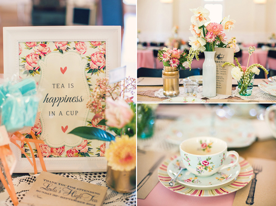 Vintage Tischdekoration für die High Tea Brautparty