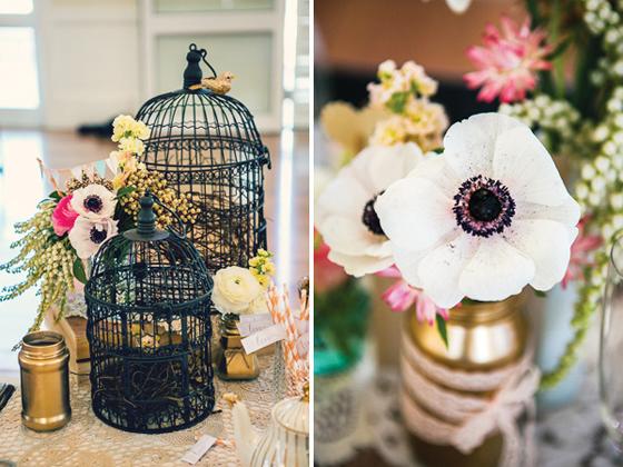 Vintage Brautparty mit romantischer Dekoration und Vogelkäfig