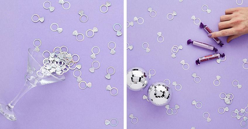 Echter Eyecatcher zum JGA - silberne Diamantringe aus Konfetti