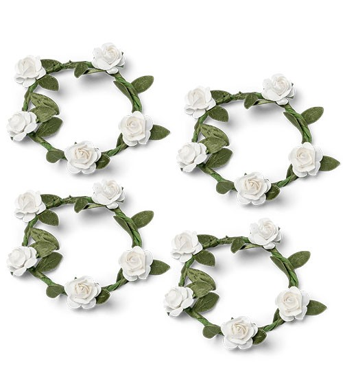 Mini-Kränze mit weißen Rosen - 5 cm - 4 Stück