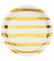 Pappteller - weiß/gold - 8 Stück