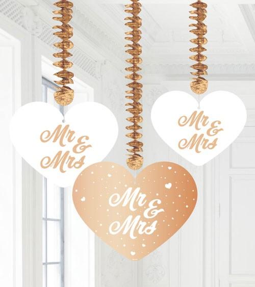 """Spiralgirlanden """"Mr & Mrs"""" - weiß/rosegold - 3 Stück"""