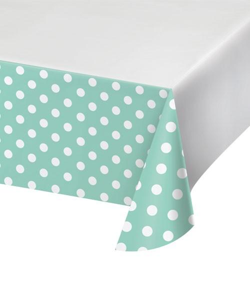 """Kunststoff-Tischdecke """"Mint & Weiß"""" - gepunktet - 137 x 259 cm"""