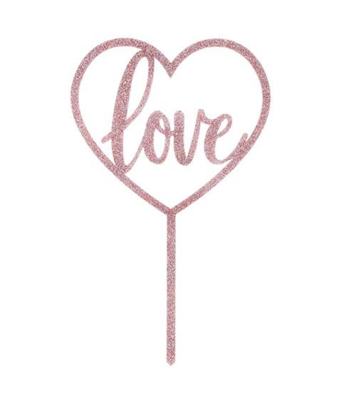 """Cake Topper aus Acryl """"Love"""" - glitter rosegold"""