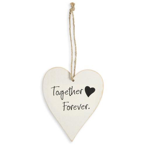 "Herz aus Holz ""Together/Forever"" - weiß"