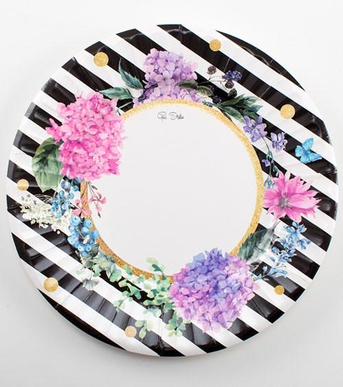 "Große Pappteller ""Black & Flowers"" - 8 Stück"