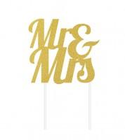 """Kuchen-Topper aus Papier """"Mr & Mrs"""" - glitter gold"""