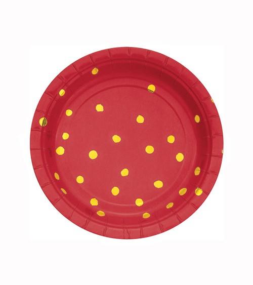 Kleine Pappteller - rot/gold - 8 Stück