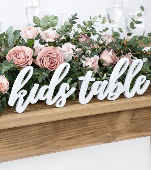 """Schriftzug aus Holz """"Kids Table"""" - weiß - 38 x 10 cm"""