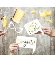 Hochzeits-Photobooth-Props - gold - 10 Stück