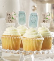 "Cupcake-Topper ""Rustic Wedding"" - 12 Stück"