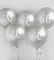 """Metallic-Luftballons """"60"""" - silber - 5 Stück"""