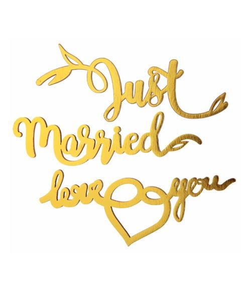 "Holz-Sticker ""Just Married"" - 3-teilig"