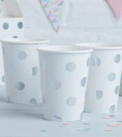 "Pappbecher ""Pick and Mix"" - Polka Dot - silber - 8 Stück"