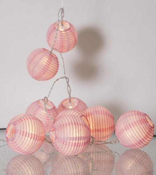 """LED-Lichterkette """"Papierlampion"""" - rosa - 1,35 m"""