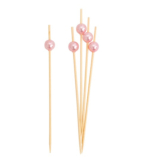 Party-Picks mit Perle - perlmutt rosa - 12 cm - 25 Stück