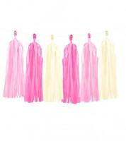DIY Tassel-Girlande - rosa, pink, creme - 1,5 m
