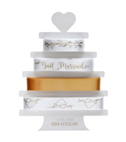 """Selbstklebendes Geschenkband-Set """"Gold & White"""" - 4-teilig"""