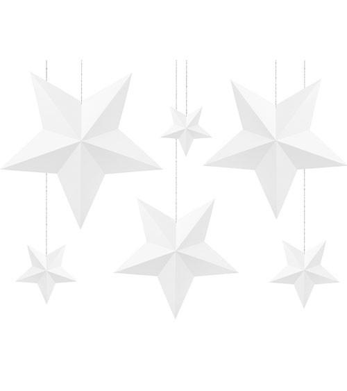 """Hängedekoration """"3D-Sterne"""" - weiß - 6 Stück"""