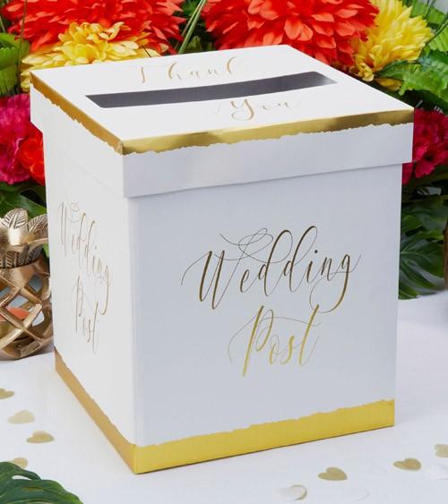 """Hochzeits-Kartenbox """"Dipped in Gold"""" - 21 x 24,5 cm"""