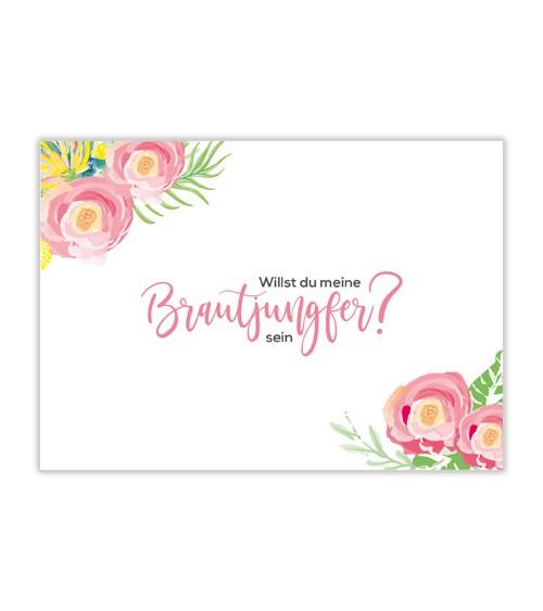 """Karte """"Willst du meine Brautjungfer sein?"""" - Blumen"""