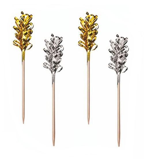 """Deko-Picks """"Frills"""" - gold/silber - 30 Stück"""