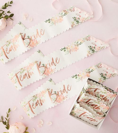 """Team Bride Schärpen """"Florale Brautparty"""" - 6 Stück"""