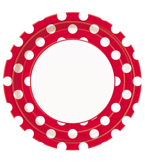 """Pappteller """"Big Dots"""" - rot - 8 Stück"""
