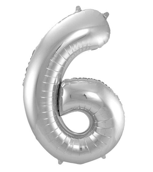 "SuperShape Folienballon ""6"" - silber"