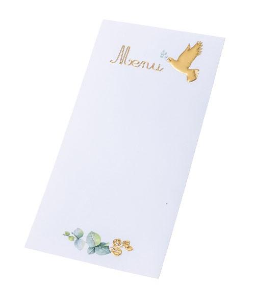 Menü-Karten mit goldener Taube & Eukalyptus - 10 Stück