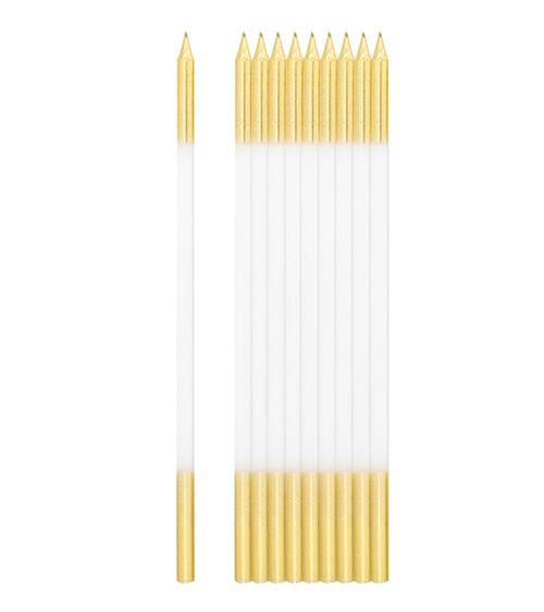 Lange Kuchenkerzen - gold & weiß - 16 cm - 10 Stück