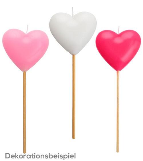 """Große Kuchenkerze """"Herz"""" - weiß/rosa/pink - sortiert"""