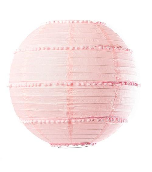 Lampion mit Pompons - 35 cm - rosa