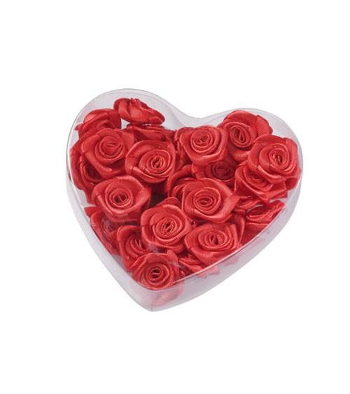 Satin-Rosen zum Streuen in Herzbox - rot - 2 cm - 30 Stück