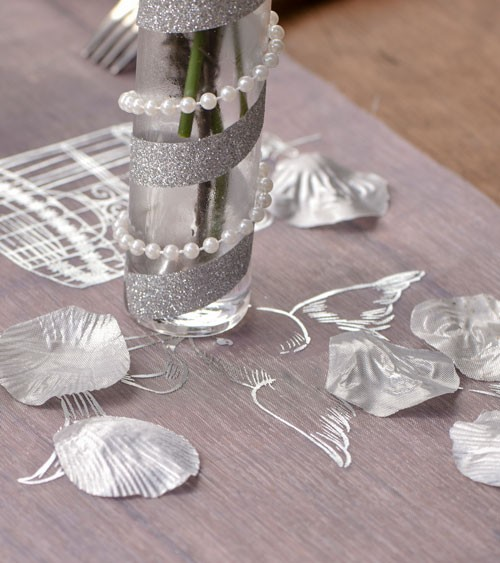 Rosenblätter-Mix aus Stoff - silber - 100 Stück